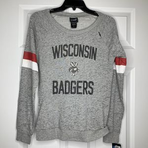 New Wisconsin Badgers Boat Neck PulloverLarge 14